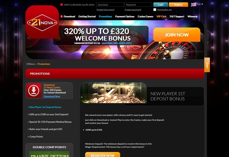 21Nova Casino Review - Games Bonuses Payment Methods