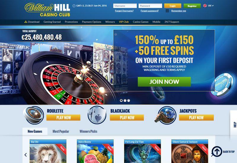 William hill casino club 50 free spins