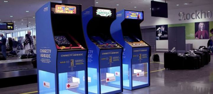Charity and Slot Machines in aiport