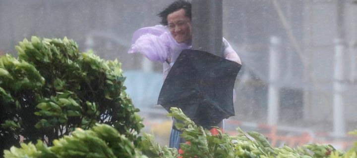Macau Casino Workers Protest During Typhoon Hato