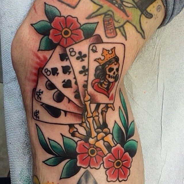 cd42d59ce Here, an old school skeleton's hand with cards by Adam Rosenthal. 02. Kissing  dice is supposed to bring luck. Fantastic hand tattoo by Carl Grace!