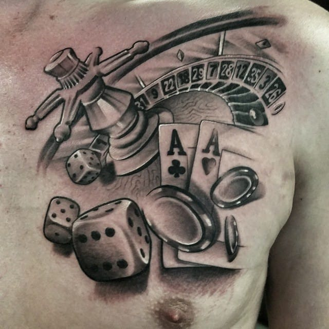1cfd9190e Nice black and grey roulette tattoo by Gerrit Bekman.