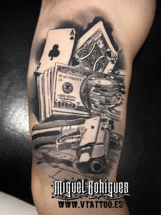 21 exciting gambling tattoos. Black Bedroom Furniture Sets. Home Design Ideas